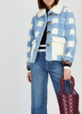 SAKS POTTS Lucy blue and white checked shearling jacket