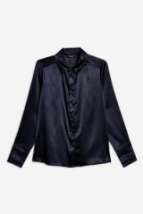TOPSHOP Satin Shirt in Navy Blue