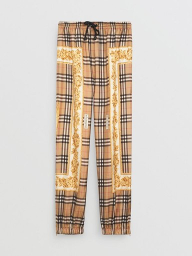 BURBERRY Scarf Border Vintage Check Silk Drawcord Trousers / zipped cuff-style hem