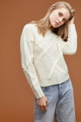 Selected Femme Cable-Knit Jumper in Ivory | chunky crew neck