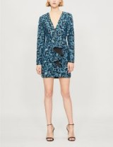 SELF-PORTRAIT Ruffled blue sequinned dress – sparkly mini