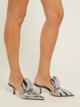 MIDNIGHT 00 Silver sequin and PVC mules ~ black velvet panels