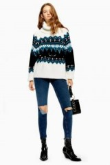 Topshop Sequin Oversized Fair Isle Jumper | patterned roll neck sweater