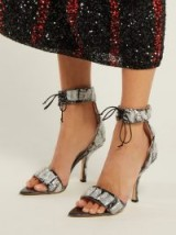 MIDNIGHT 00 Sequinned and PVC black velvet sandals