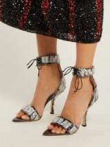MIDNIGHT 00 Sequinned and PVC black velvet sandals