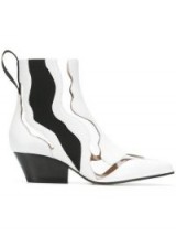SERGIO ROSSI cut-out contrasting ankle boots in white leather – clear panel boot