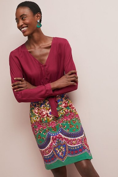 Maeve Sheffield Textured Pencil Skirt / multicoloured floral prints
