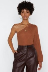 NASTY GAL Shoulder What You're Made Of Sweater in Amber – glamorous brown tone tops