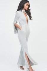 Lavish Alice signature silver iridescent sequin deep plunge jumpsuit ~ glamorous evening fashion