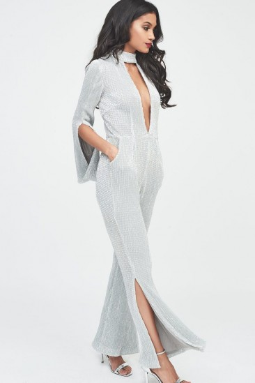 Lavish Alice signature silver iridescent sequin deep plunge jumpsuit ~ glamorous evening fashion