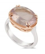 DINNY HALL Silver and Rose Gold Cassiopeia Rose Quartz Ring – pink stone rings