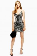 TOPSHOP Silver Foil Sequin Mini Dress – metallic cami dress ~ party fashion