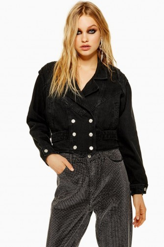 Topshop Military Style Black Denim Jacket