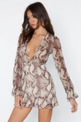 NASTY GAL Slither You Like It or Not Snake Dress in Brown – reptile print plunge front dress