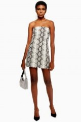 TOPSHOP Snake Print Bandeau Dress in Grey – strapless party mini