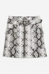 Topshop Snake Print Leather Look Belted Mini Skirt   retro fashion