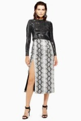Topshop Snake Print Leather Look Pencil Skirt in Monochrome