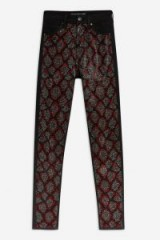 Topshop Snake Studded Jamie Jeans in Red   animal print denim skinnies