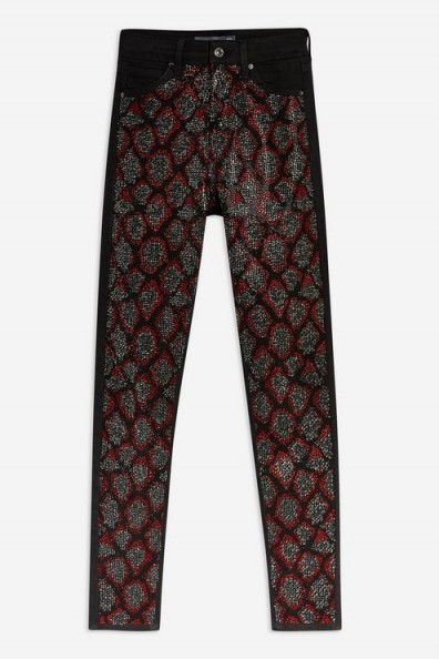 Topshop Snake Studded Jamie Jeans in Red | animal print denim skinnies