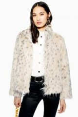 TOPSHOP Snow Leopard Print Coat – glamorous faux fur winter coats