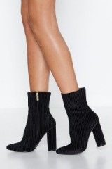 NASTY GAL Sock 'Em Heeled Boot in Black – textured ribbed velvet boots