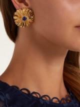 AURÉLIE BIDERMANN Sofia gold-plated and blue lapis lazuli flower earrings
