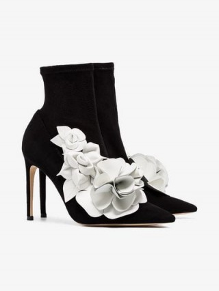 Sophia Webster Jumbo Lilico 100 Boots in Black / floral appliques