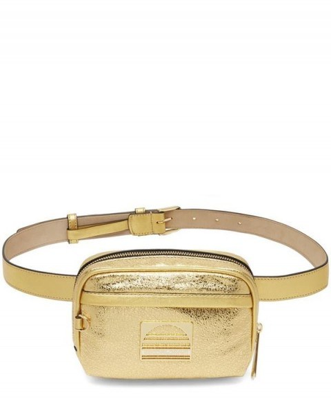 MARC JACOBS Gold Leather Sport Belt Bag – metallic bum bag – sporty accessory - flipped