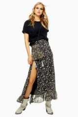Topshop Star Print Ruffle Maxi Skirt in Monochrome | black and white prints