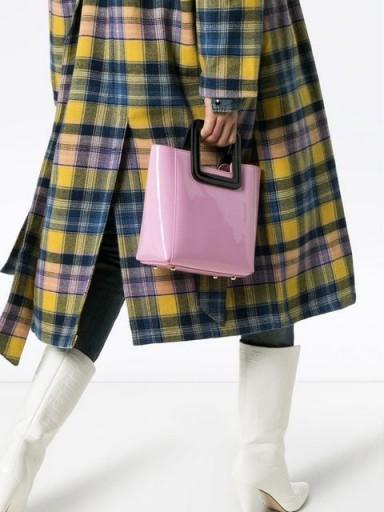 STAUD pink and black Shirley mini patent leather tote bag / cute little retro handbag