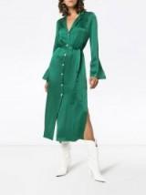 STAUD sandy belted green satin dress