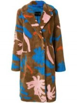 STINE GOYA brown floral faux-shearling coat