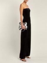 NORMA KAMALI Strapless black velvet jumpsuit ~ effortless party glamour