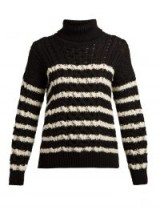 LOEWE Black and White Striped cable-knit roll-neck wool sweater | monochrome knitwear