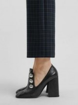 BURBERRY Stud Detail Black Leather Block-heel Pumps / chunky heels