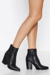 NASTY GAL Stud-y Buddy Heeled Boot in Black – studded chunky heel boots