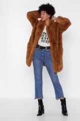 NASTY GAL Surfin' Bird Faux Fur Coat in Camel – fluffy brown coats