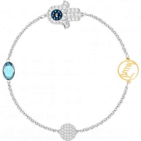 SWAROVSKI REMIX COLLECTION HAMSA HAND SYMBOL, STRAND BLUE, MIXED PLATING | middle east inspiration - flipped
