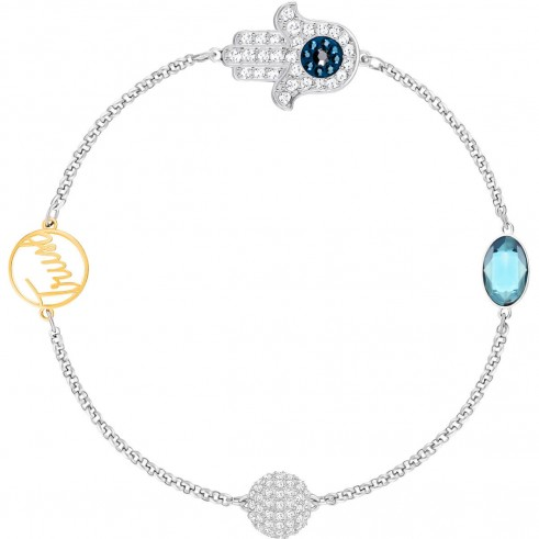 SWAROVSKI REMIX COLLECTION HAMSA HAND SYMBOL, STRAND BLUE, MIXED PLATING | middle east inspiration