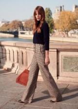 SÉZANE Francesca trousers in NAVY OCHRE CHECKS | double button-front pants