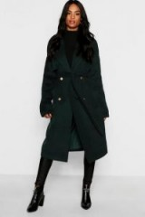 boohoo Tall Double Breasted Wool Look Coat in Green | belted winter coats
