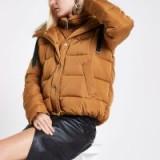 RIVER ISLAND Tan faux fur hooded puffer jacket ~ light-brown winter coat