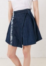 HOUSE OF HOLLAND TAPED DENIM WRAP SKIRT   distressed with D-ring belt