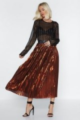 NASTY GAL The Pleat is On Metallic Skirt in Orange – side slit midi – shiny party fashion