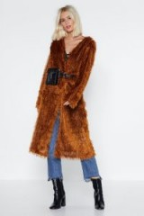 NASTY GAL The Way You Make Me Feel Shaggy Cardigan in Ginger – spicy brown tones