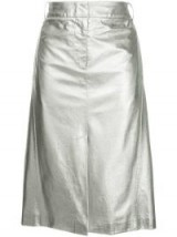 TIBI high-waisted silver leather skirt