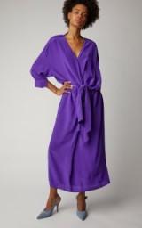 Victoria Victoria Beckham Purple Tied Washed-Silk Shirt Dress ~ effortless style fashion