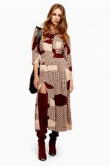 Topshop Tiled Maxi Dress in Brown | retro fashion | 70s look dresses