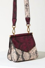 ANTHROPOLOGIE Two Tone Snakeskin Crossbody Bag Rose ~ pink reptile print
