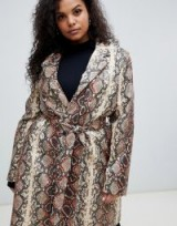 UNIQUE21 Hero Plus oversized coat in snake print with faux fur collar in grey – reptile prints